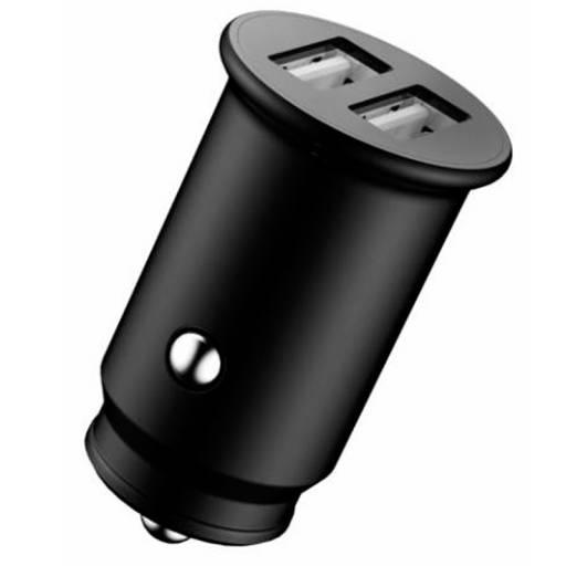 CARGADOR 5V COCHE 2X USB BYHOM E 2.4A NEGRO